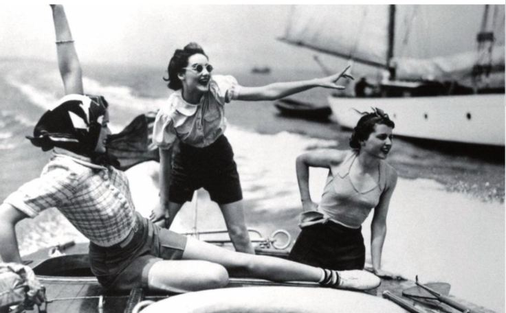 three women on a boat